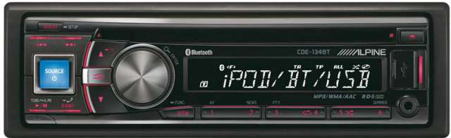 Alpine CDE-134BT CD/MP3/USB/iPod Receiver with Bluetooth