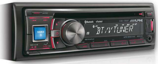 Alpine CDE-135BT CD/MP3/USB Receiver With Bluetooth
