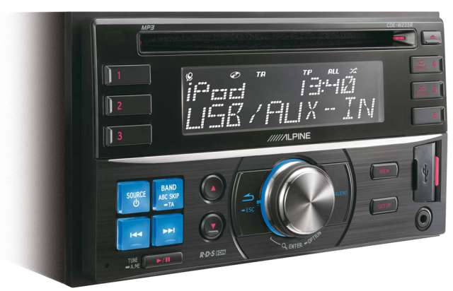Alpine CDE-W233R Double Din CD/MP3 Receiver with iPod & USB