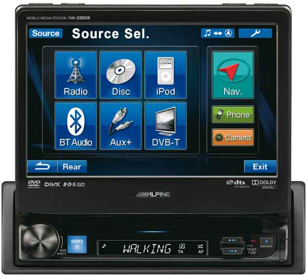 "Alpine IVA-D800R 7"" Touch Screen Monitor with DVD Playback"