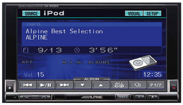 Alpine IVA-W205R Double Din Monitor With DVD Playback