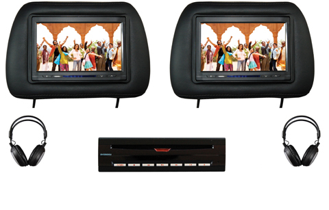 Dual Head Rest Screen Monitor With Single DVD Player