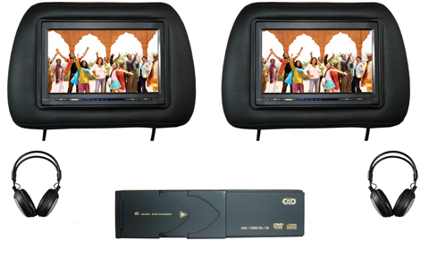 Dual Head Rest Screen Monitor With 6 Disc DVD Changer