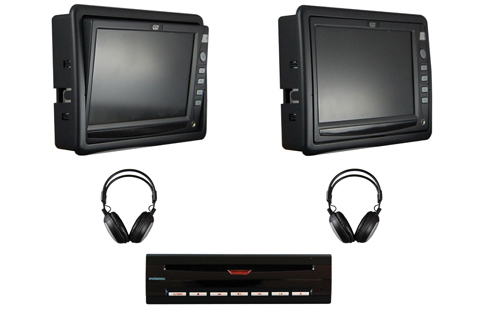 Dual Tilt Screen Monitor With Single DVD Player