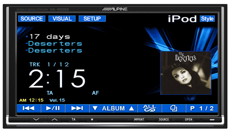 Alpine IVA-W505R Double Din Monitor with Black Bird Dock