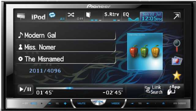 Pioneer AVH-P3400DVD DVD\CD\MP3\WMA Receiver - Click Image to Close