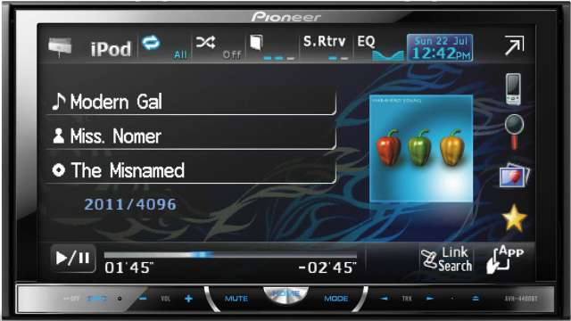 Pioneer AVH-4400BT CD/MP3/iPod/DVD Recevier With Bluetooth